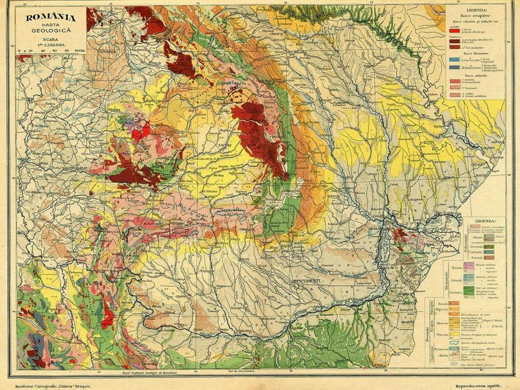 Harta geologica a Romaniei 1929