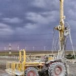 Instalatie de foraj geologic, geotehnic, apa (bentonita sau aer) si pompe de caldura pe tractor 4x4 de vanzare in Timisoara.